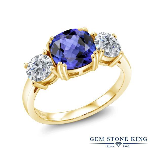 指輪 リング 3.7カラット 天然石 タンザナイト シルバー 925 イエローゴールドコーティング 天然ダイヤモンド