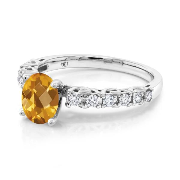 指輪 リング 1.55カラット 天然シトリン 10金 ホワイトゴールド(K10)