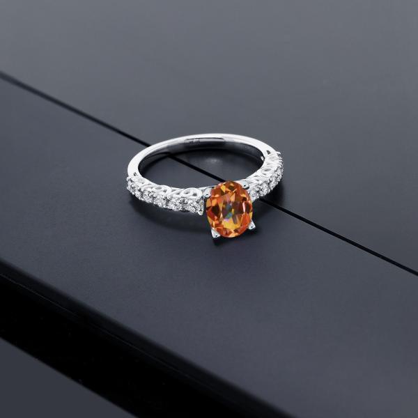 指輪 リング 1.8カラット 天然石 エクスタシーミスティックトパーズ 10金 ホワイトゴールド(K10)