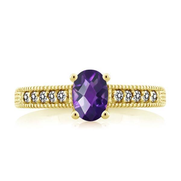 指輪 リング 1.08カラット 天然アメジスト シルバー 925 イエローゴールドコーティング 天然ダイヤモンド