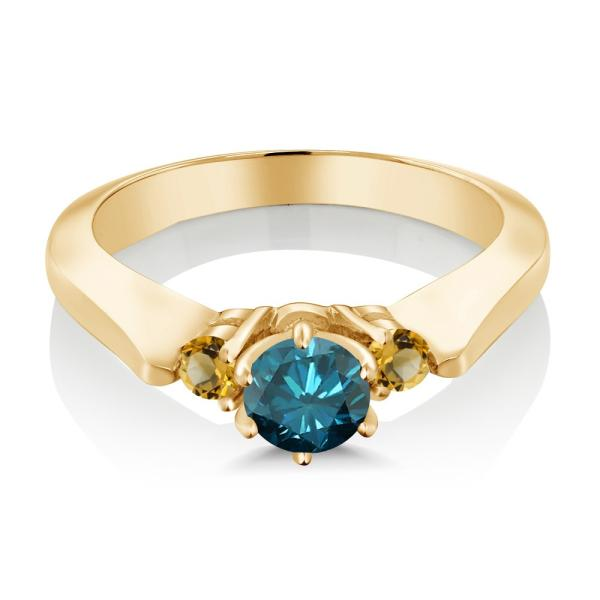 指輪 リング 0.69カラット 天然ブルーダイヤモンド イエローシトリン シルバー 925 イエローゴールドコーティング