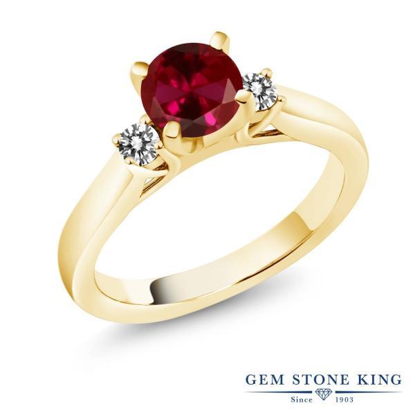 指輪 リング 1.20カラット 合成ルビー シルバー 925 イエローゴールドコーティング 天然ダイヤモンド