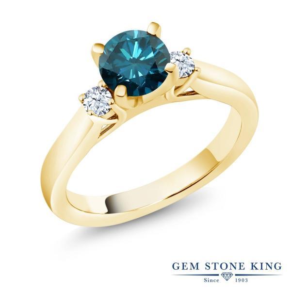 指輪 リング 1.06カラット 天然ブルーダイヤモンド 合成ホワイトサファイア(ダイヤのような無色透明) シルバー 925 イエローゴールドコーティング