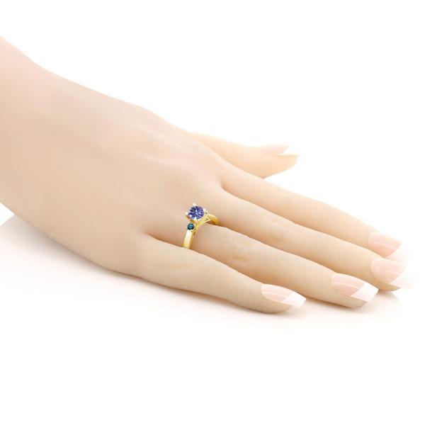 指輪 リング 1.2カラット 天然ミスティックトパーズ(タンザナイトブルー) シルバー 925 イエローゴールドコーティング 天然ブルーダイヤモンド