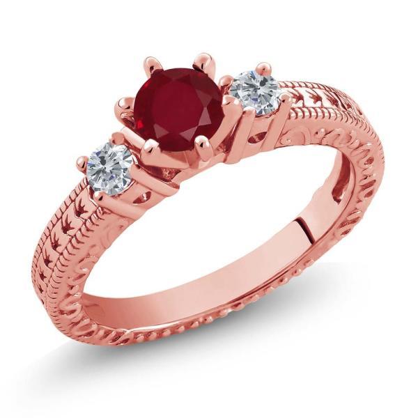 指輪 リング 0.80カラット 天然ルビー シルバー 925 ローズゴールドコーティング 天然ダイヤモンド