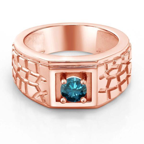 指輪 リング 0.55カラット 天然ブルーダイヤモンド シルバー 925 ローズゴールドコーティング