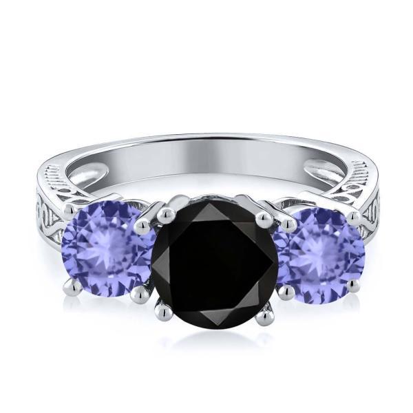 指輪 リング 2.27カラット 天然ブラックダイヤモンド 天然石 タンザナイト シルバー925