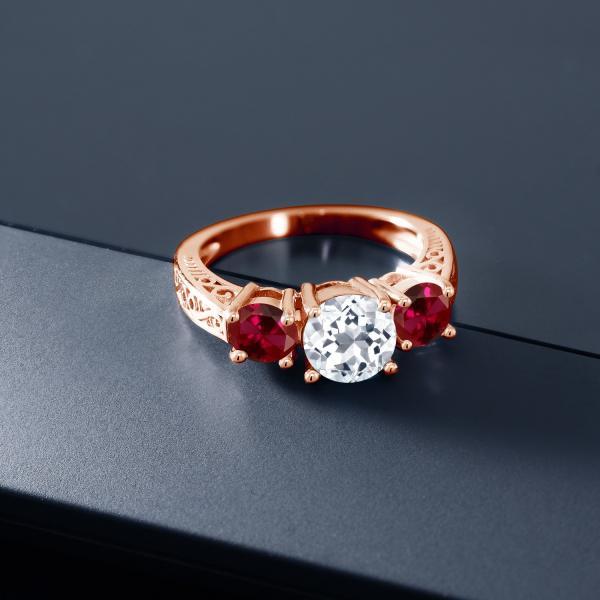 指輪 リング 2.60カラット 天然トパーズ(無色透明) シルバー 925 ローズゴールドコーティング