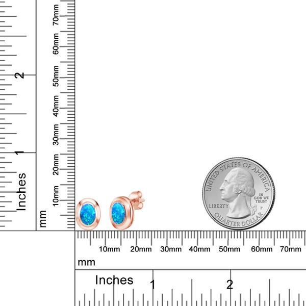 ピアス 1.26カラット シミュレイテッドオパール(ブルー) シルバー 925 ローズゴールドコーティング