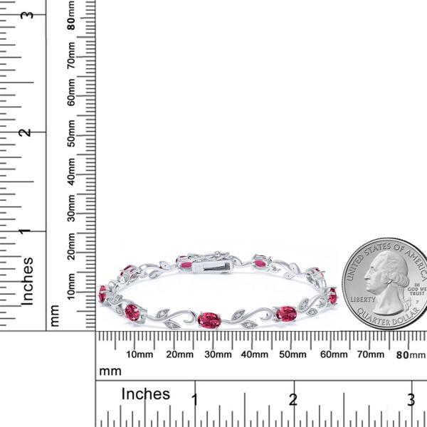 3.55カラット 天然トルマリン(ピンク) シルバー925 天然ダイヤモンド ブレスレット