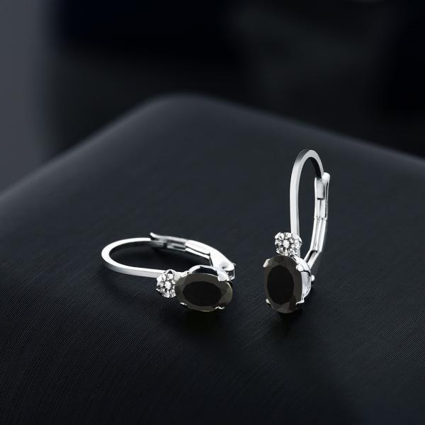 ピアス 0.85カラット 天然ブラックオニキス 14金 ホワイトゴールド(K14) 天然ダイヤモンド
