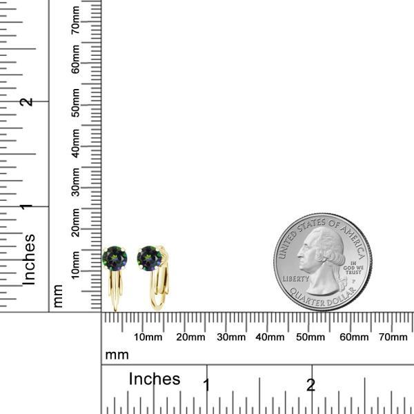 2.00カラット 天然石 ミスティックトパーズ(グリーン) シルバー 925 イエローゴールドコーティング イヤリング ノンホールピアス