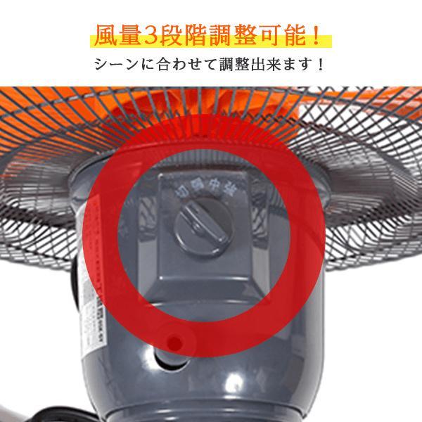 工場扇 工場扇風機 羽根 45cm 首振り 大型 床置き 開放式 オレンジ genbaichiba 04