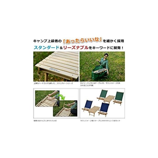 テントファクトリー ウッドライン グランドテーブルラウンジャー3点セット ブルー TF-WLGT_WLL3PSET(BL)|general-purpose|08