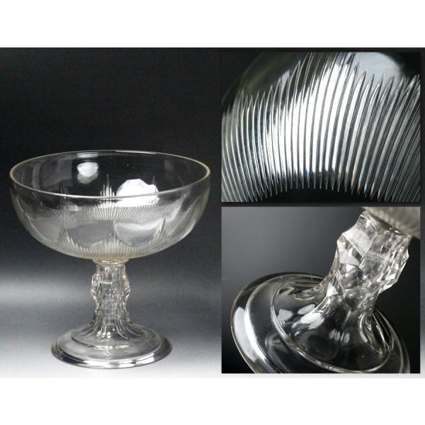 【源】【S】《昭和前期》時代物 カットガラス コンポート genjian39