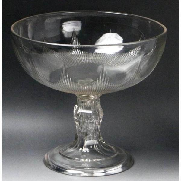 【源】【S】《昭和前期》時代物 カットガラス コンポート genjian39 04