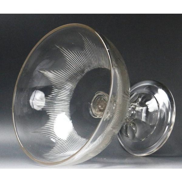 【源】【S】《昭和前期》時代物 カットガラス コンポート genjian39 05