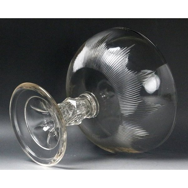 【源】【S】《昭和前期》時代物 カットガラス コンポート genjian39 07