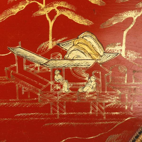【源】【S】《本物保証》《図録掲載同手品》《江戸後期》琉球漆芸 朱塗 楼閣山水人物図 箔絵 扇形盆/専用古箱入|genjian39|04