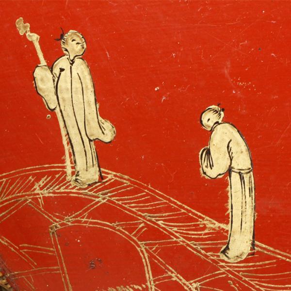 【源】【S】《本物保証》《図録掲載同手品》《江戸後期》琉球漆芸 朱塗 楼閣山水人物図 箔絵 扇形盆/専用古箱入|genjian39|06