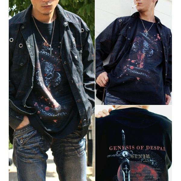 Tシャツ スカル ロック メタル 蛇 十字架 genju 02