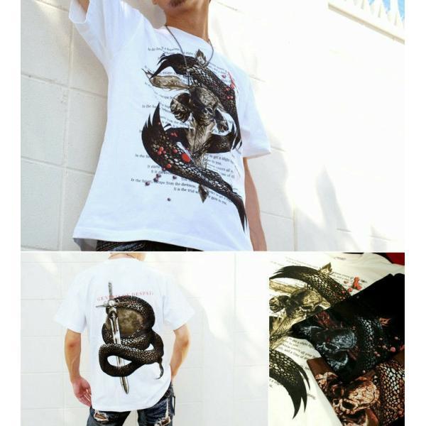 Tシャツ スカル ロック メタル 蛇 十字架 genju 04