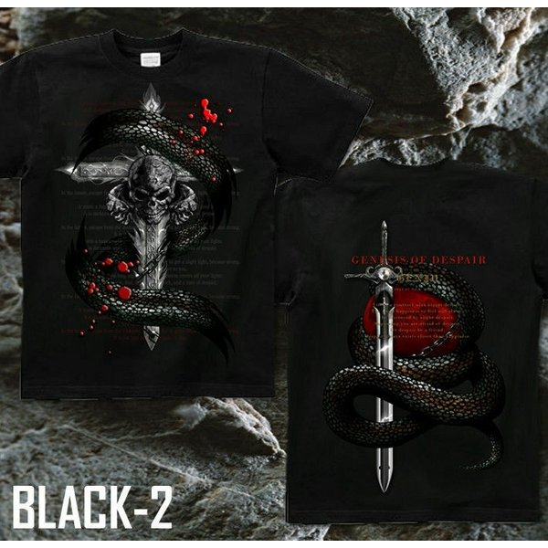 Tシャツ スカル ロック メタル 蛇 十字架 genju 07