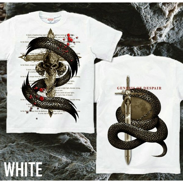 Tシャツ スカル ロック メタル 蛇 十字架 genju 08