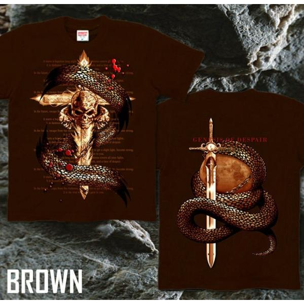 Tシャツ スカル ロック メタル 蛇 十字架 genju 09