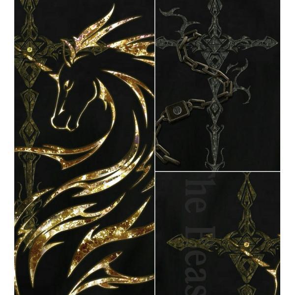 Tシャツ ユニコーン 馬 十字架|genju|02
