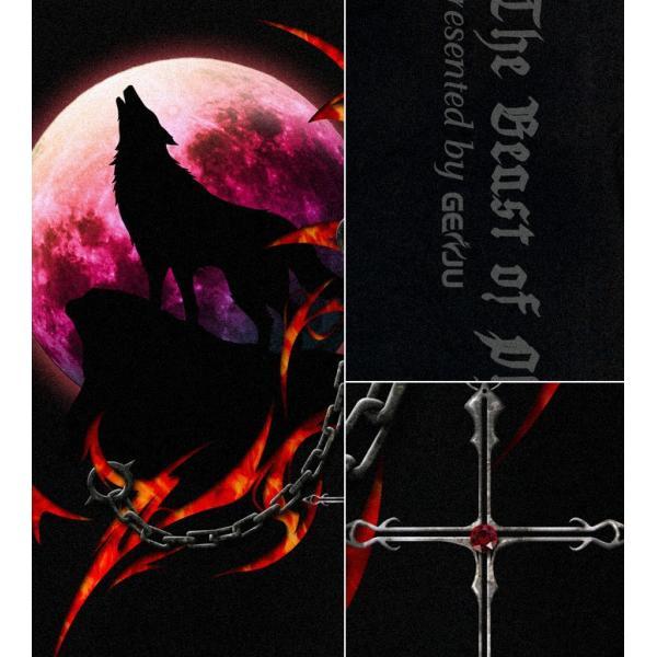 Tシャツ 狼 オオカミ アニマル トライバル 十字架|genju|02
