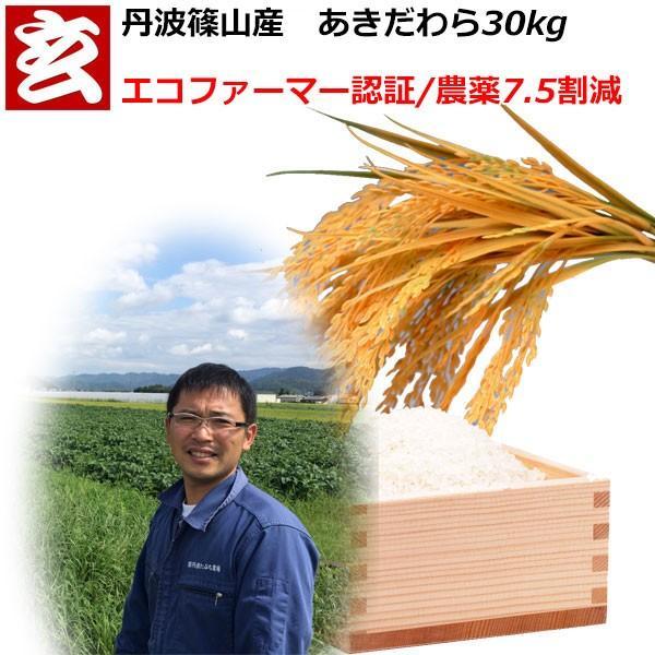 新米 農薬7.5割減  あきだわら 玄米 30kg 送料無料 産地:丹波篠山産 生産者:田渕信也 産年:令和3年 ※精米選べます