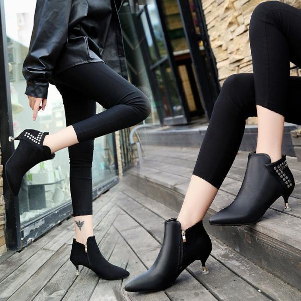 ブーティ  ピンヒール レディース ハイヒール ショートブーツ ポインテッドトゥ エナメル靴 秋冬パンプス 履きやすい 疲れにくい 脚長効果UP ブーツ 美脚