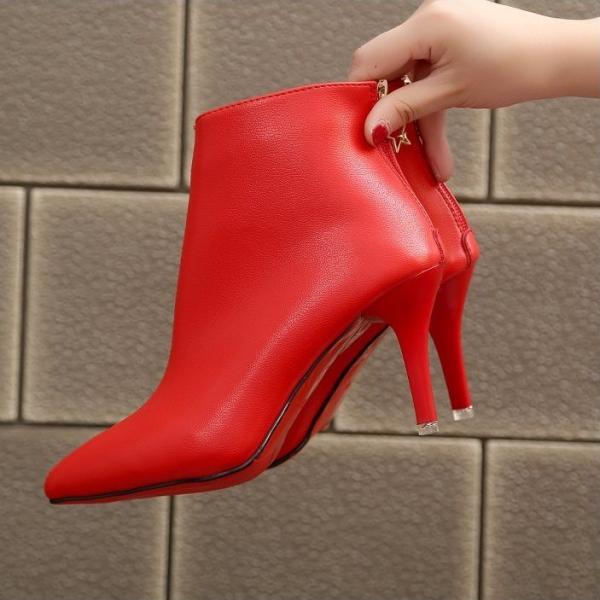 ショートブーツ レディース 靴 ピンヒール ブーティー ポインテッドトゥ バックジップ 履きやすい エナメル靴 ハイヒール 6.5cm 通勤 OL オフィス 秋冬