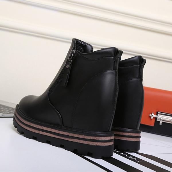 ブーツ レディースショートブーツ  厚底ブーツ プラットフォームシューズ ブーティー アンクルブーツ 秋冬 ウエッジソールブーツ インヒール サイドジップ