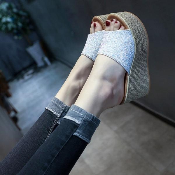 ミュール ビーチサンダル 厚底 レディース ウェッジサンダル 歩きやすい フラット スリッパ 美脚ミュール  きらきらスパンコール オープントゥサンダル 夏靴