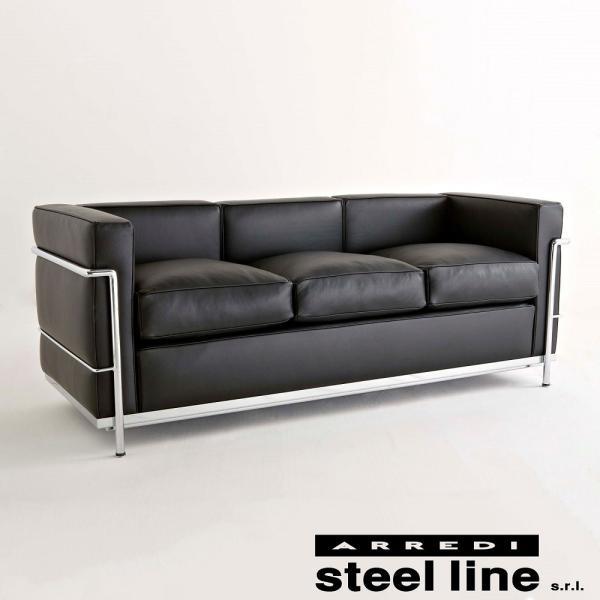 ル・コルビジェ LC2 3P(アニリン本革) スティールライン社DESIGN900 (steelline)|genufine-store