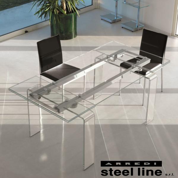 *20%OFF対象* LIFE CLASSシリーズ FORTUNYガラス延長ダイニングテーブル(W160) スティールライン社 (steelline)|genufine-store