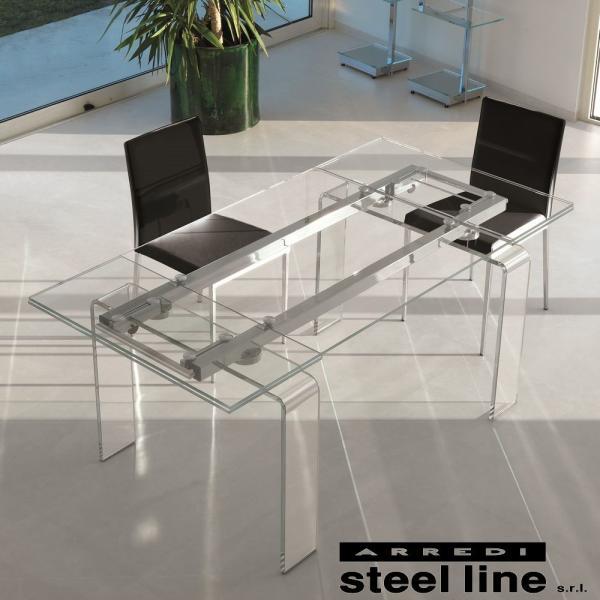 *20%OFF対象* LIFE CLASSシリーズ FORTUNYガラス延長ダイニングテーブル(W180) スティールライン社 (steelline)|genufine-store