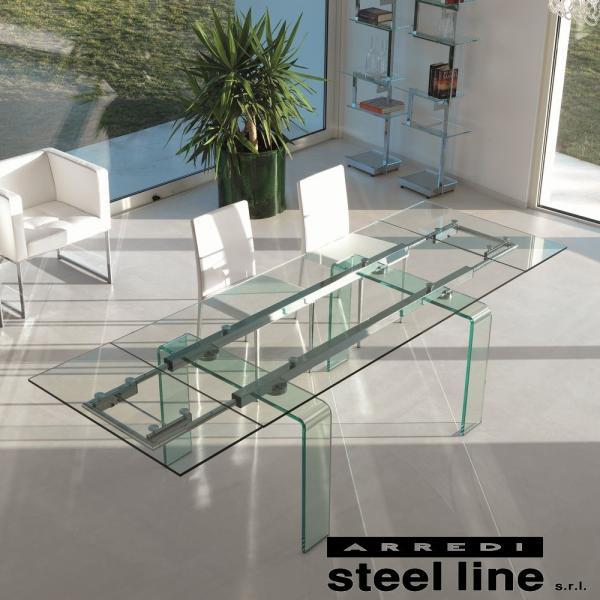 *20%OFF対象* LIFE CLASSシリーズ FORTUNYガラス延長ダイニングテーブル(W160) スティールライン社 (steelline)|genufine-store|02