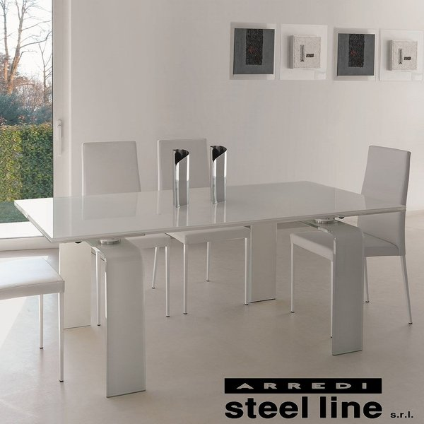 LIFE CLASSシリーズ FORTUNYガラス延長ダイニングテーブル(W160)【ホワイトガラス仕様】 スティールライン社 (steelline)|genufine-store