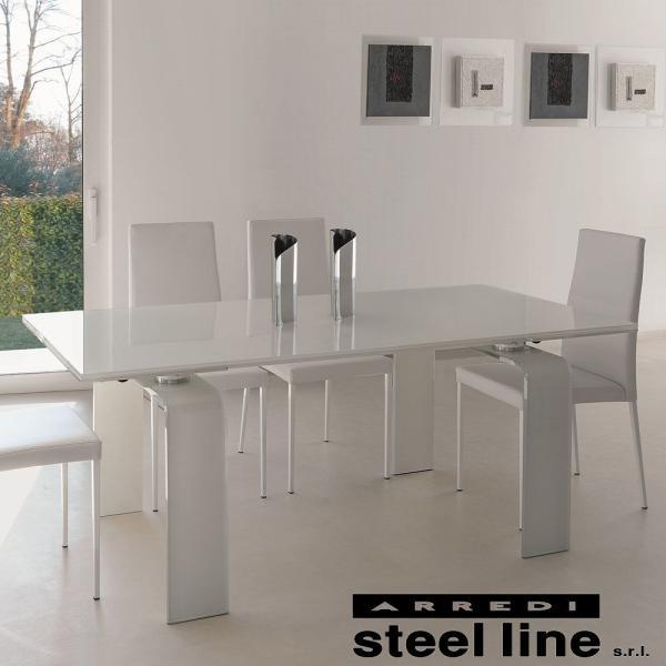LIFE CLASSシリーズ FORTUNYガラス延長ダイニングテーブル(W180)【ホワイトガラス仕様】 スティールライン社 (steelline)|genufine-store