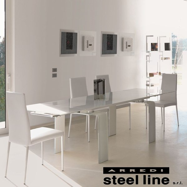 LIFE CLASSシリーズ FORTUNYガラス延長ダイニングテーブル(W160)【ホワイトガラス仕様】 スティールライン社 (steelline)|genufine-store|02