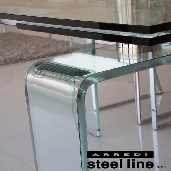 LIFE CLASSシリーズ FORTUNYガラス延長ダイニングテーブル(W160)【ホワイトガラス仕様】 スティールライン社 (steelline)|genufine-store|03