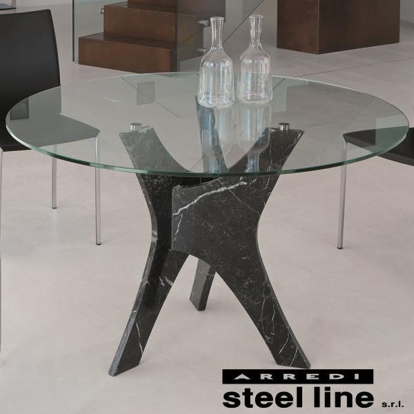 *20%OFF対象* LIFE CLASSシリーズ BRERAガラスダイニングテーブル(φ120) スティールライン社 (steelline) genufine-store
