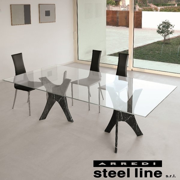 *20%OFF対象* LIFE CLASSシリーズ PHANTEONガラスダイニングテーブル(W220) スティールライン社 (steelline)|genufine-store