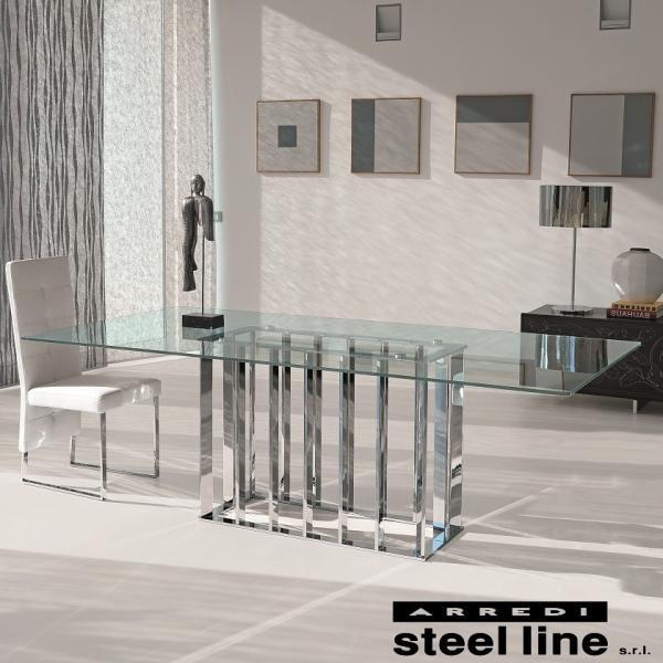 *20%OFF対象* LIFE CLASSシリーズ PLACE VENDOMEガラスダイニングテーブル スティールライン社 (steelline)|genufine-store