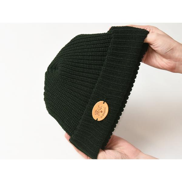 イルビゾンテ IL BISONTE ニット帽(ブラック)レザーパッチ付きニットキャップ/ニット帽 54182309183 レディース メンズ プレゼント【無料ラッピング対応】|geostyle|06