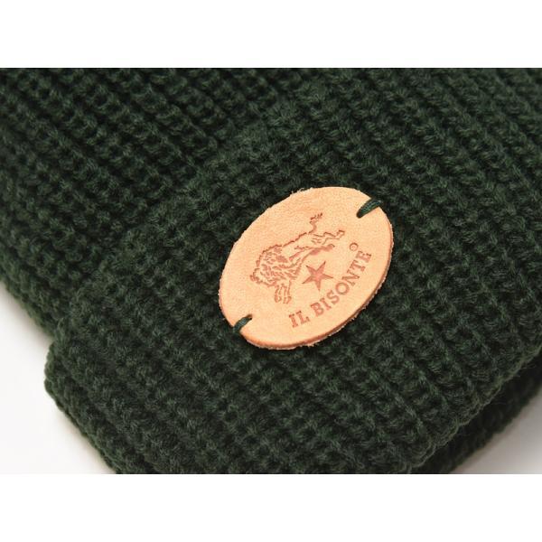 イルビゾンテ IL BISONTE ニット帽(ブラック)レザーパッチ付きニットキャップ/ニット帽 54182309183 レディース メンズ プレゼント【無料ラッピング対応】|geostyle|07