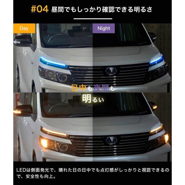 シーケンシャルウインカー 流れるウインカー LED テープライト ツインカラー 2色 12V 60センチ 96連 2本入り シリコン 簡単取付|gfactory|06